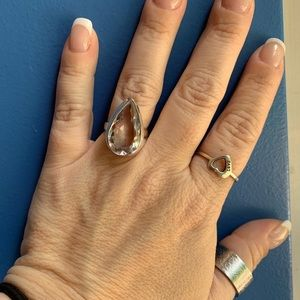 Jewelry - Huge pear shaped colorless Moissanite! NWOT